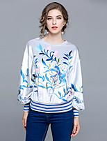 economico -T-shirt Da donna Per uscire Casual Vintage Inverno Autunno,Fantasia floreale Rotonda 100% poliestere Manica lunga Medio spessore
