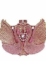 Mulher Bolsas Todas as Estações Metal Bolsa de Festa Botões Detalhes em Cristal para Casual Prata Rosa
