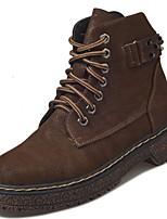 abordables -Mujer Zapatos Ante Otoño Botas de Combate Botas Tacón Bajo Dedo redondo Mitad de Gemelo Para Casual Negro Marrón