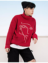 Men's Casual/Daily Regular Pullover,Geometric Turtleneck Long Sleeves Acrylic Fall Thick Micro-elastic