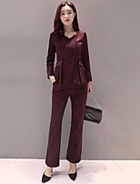 Women's Daily Work Vintage Autumn/Fall Set Pant Suits,Solid V Neck Long Sleeves Others