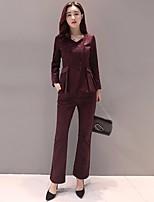 Set Pantalon Costumes Femme,Couleur Pleine Décontracté / Quotidien Travail Rétro Automne Manches Longues Col en V Autres