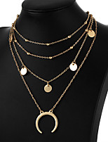 cheap -Women's Moon Simple Multi Layer Fashion Choker Necklace Pendant Alloy Choker Necklace Pendant , Gift Daily Evening Party Prom