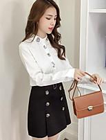 cheap -Women's Daily Wear Cute Blouse,Animal Print Shirt Collar Long Sleeves Cotton
