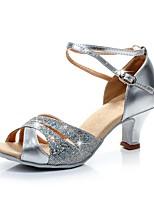 Da donna Balli latino-americani Brillantini Sandali Tacchi Sneaker Professionale A fantasia Tacco a rocchetto Argento Verde Blu 2