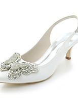 Femme Chaussures Satin Printemps Eté Escarpin Basique Chaussures de mariage Bout pointu Strass Noeud Pour Mariage Soirée & Evénement