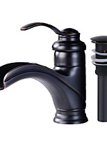 Centerset Waterfall Ceramic Valve Single Handle One Hole Oil-rubbed Bronze , Bathroom Sink Faucet