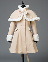 cheap -Winter Sweet Lolita Cape Coat Princess Wool Women's Girls' Adults' Coat Cosplay Beige Long Sleeves