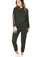 Women's Daily Sports Casual Winter Spring/Fall Hoodie Pant Suits,Color Block Round Neck Long Sleeves Cotton Rayon Micro-elastic