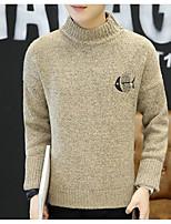 Standard Pullover Da uomo-Casual Tinta unita A collo alto Manica lunga Cotone Medio spessore Media elasticità