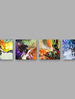 Hand-Painted Abstract Square,Modern Four Panels Canvas Oil Painting For Home Decoration