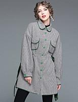 cheap -EWUS Women's Daily Going out Street chic Winter Fall Coat,Print Shirt Collar Long Sleeves Long 100% Polyester Bow