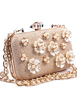 cheap -Women Bags leatherette Evening Bag Appliques Buttons Flower(s) Pearl Detailing for Wedding Event/Party All Season Gold