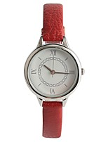 Women's Wrist watch Japanese Quartz Casual Watch PU Band Casual Red