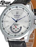 abordables -WINNER Hombre Reloj Casual Reloj de Moda Reloj de Pulsera Cuerda Automática Piel Banda Vintage Casual Negro