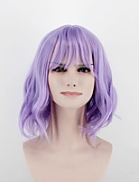 Women Synthetic Wig Capless Medium Length Curly Bright Purple Middle Part Natural Wigs Costume Wig