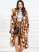 Women's Going out Simple Winter Fur Coat,Print Cape Long Sleeves Long Others