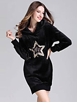 Women's Daily Going out Casual Street chic Sheath Little Black T Shirt Dress,Sequin Embroidered Hooded Above Knee Long Sleeve Polyester