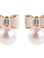 Women's Stud Earrings Simple Imitation Pearl Alloy Bowknot Jewelry For Ceremony Christmas