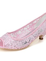 economico -Da donna Scarpe Di pizzo Primavera Estate Decolleté scarpe da sposa Kitten Punta aperta per Matrimonio Serata e festa Bianco Rosa Avorio