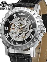 Недорогие -WINNER Муж. Повседневные часы Модные часы Наручные часы С автоподзаводом С гравировкой Кожа Группа Винтаж На каждый день Черный