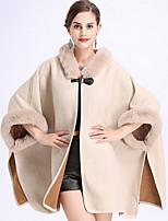 Недорогие -Для женщин Для вечеринок На каждый день Осень Пальто с мехом V-образный вырез,Простой Однотонный Длинная Полиэстер