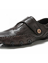 Men's Shoes Cowhide Spring Fall Comfort Loafers & Slip-Ons For Casual Brown Black