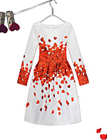 Girl's Event/Party Dailywear Dress,Cotton Polyester Long Sleeves Cute Casual Princess Red