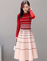 Women's Daily Casual Autumn/Fall Sweater Skirt Suits,Striped Round Neck Long Sleeves Others