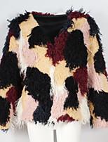 Women's Daily Vintage Winter Fur Coat,Color Block V-neck Long Sleeves Regular Others