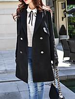 Недорогие -Для женщин На каждый день Офис Зима Пальто Прямоугольный,Простой Уличный стиль Однотонный Длинная Длинный рукав,Шерсть Полиэстер,