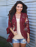 Women's Holiday Going out Vintage Sexy Boho Spring/Fall All Seasons Blouse,Floral V Neck Long Sleeves Rayon Thin Medium