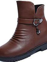 abordables -Mujer Zapatos PU Invierno Otoño Botas de Combate Botas Tacón Plano Dedo redondo Mitad de Gemelo Para Casual Negro Marrón