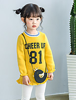 Girl's Daily Letter Dress,Cotton Fall Long Sleeves Casual Blushing Pink Yellow