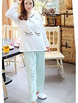 Costumes Pyjamas Femme,Imprimé Coton Polyester Rose Claire Vert Claire