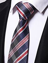 cheap -Men's Polyester Necktie,Work Casual Striped All Seasons Red
