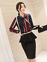 Women's Work Casual Fall Shirt Skirt Suits,Striped Round Neck Long Sleeves Polyester
