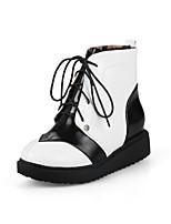 abordables -Mujer Zapatos Cuero Patentado Invierno Otoño Confort Botas Tacón Plano Dedo redondo Para Blanco Negro Rojo