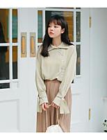Для женщин На выход На каждый день Рубашка Рубашечный воротник,Уличный стиль Однотонный Длинный рукав,Хлопок