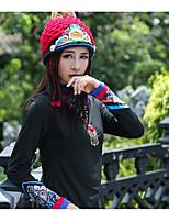 Недорогие -Унисекс Винтаж Вязаная шапочка,Зима Полиэстер Цветочный Природа Старинный Синий Красный