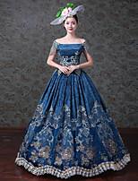 Rétro Rococo Victorien Costume Féminin Adulte Une Pièce Robes Costume de Soirée Bal Masqué Bleu Vintage Cosplay Satin/ Tulle Tulle Sans