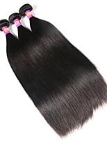 3 предмета Черный Прямой силуэт Перуанские волосы Ткет человеческих волос Наращивание волос