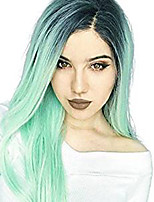Women Synthetic Wig Long Straight Wavy Mint Green Natural Hairline Middle Part Layered Haircut Party Wig Celebrity Wig Natural Wigs