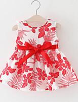 Девичий Платье На выход Искусственный шёлк Цветочный принт Без рукавов