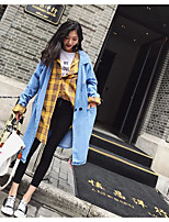 Women's Daily Vintage Fall Trench Coat,Solid Round Neck Long Sleeves Regular Acrylic Others