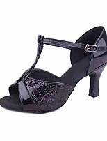 Women's Latin Paillette Customized Materials Heel Indoor Paillette Stiletto Heel Gold Black Silver Brown 2