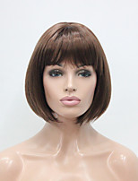 Auburn Short Straight Bangs Synthetic Hair Women's BOB Full Wig Center Skin Top