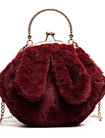 Women Bags Fur Tote Buttons Feathers / Fur for Wedding Event/Party All Season Black Red Gray Brown Army Green