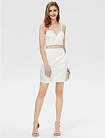 Eng anliegend Spaghetti-Träger Kurz / Mini Satin Cocktailparty Kleid mit Perlenstickerei Kristall Verzierung durch TS Couture®