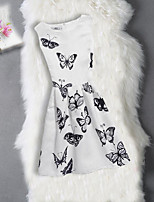 Girl's Birthday Going out Floral Jacquard Butterfly Dress,Cotton Polyester Sleeveless Cute Casual Princess White